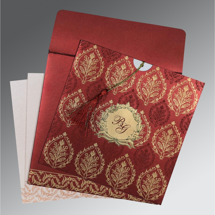 WINE RED SHIMMERY UNIQUE THEMED - FOIL STAMPED WEDDING CARD : C-8249L - 123WeddingCards
