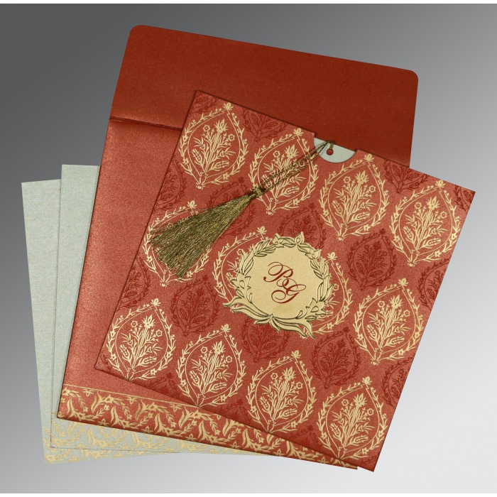Red Shimmery Unique Themed - Foil Stamped Wedding Card : RU-8249A - 123WeddingCards