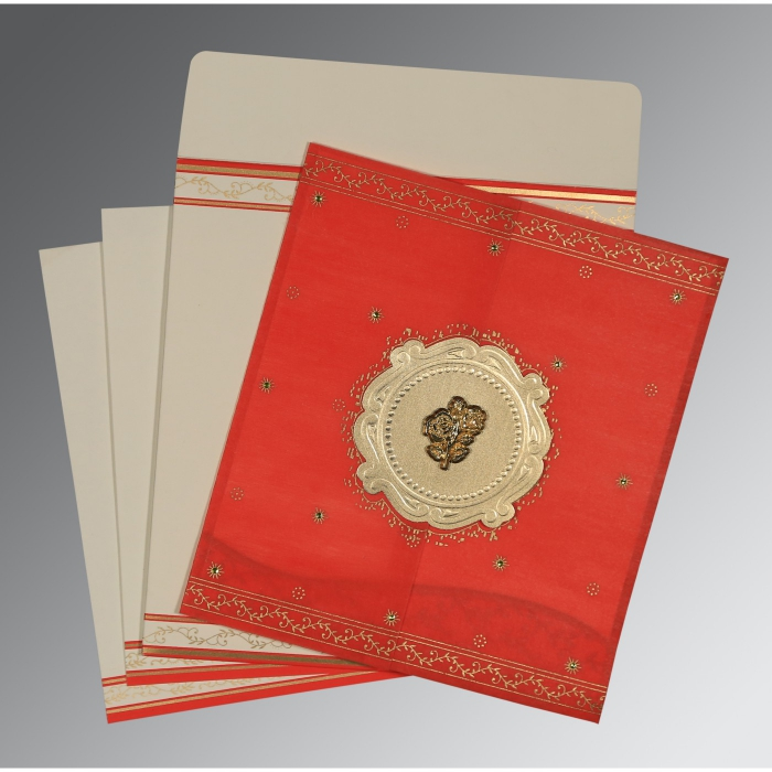 Red Wooly Embossed Wedding Invitation : C-8202H - 123WeddingCards