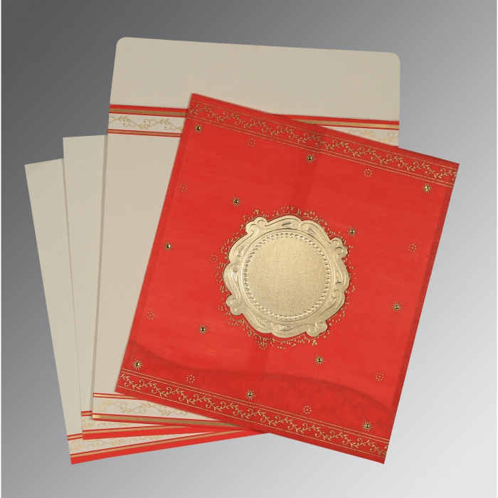 Red Wooly Embossed Wedding Invitation : D-8202H - 123WeddingCards