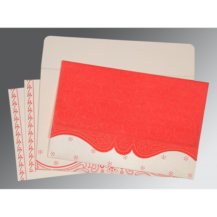 Red Wooly Embossed Wedding Invitation : I-8221J - 123WeddingCards