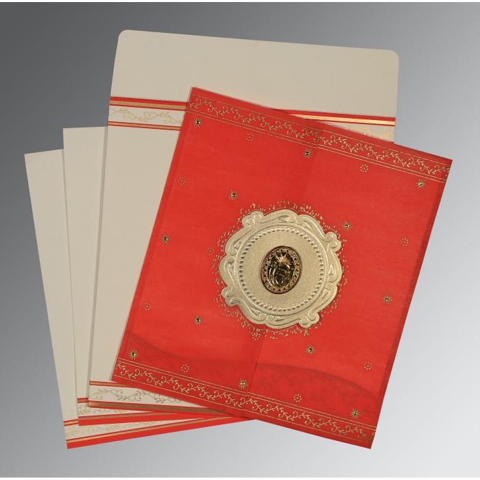 Red Wooly Embossed Wedding Invitation : RU-8202H - 123WeddingCards