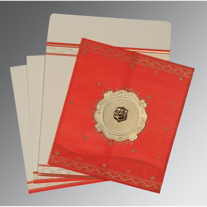 Red Wooly Embossed Wedding Invitation : W-8202H - 123WeddingCards