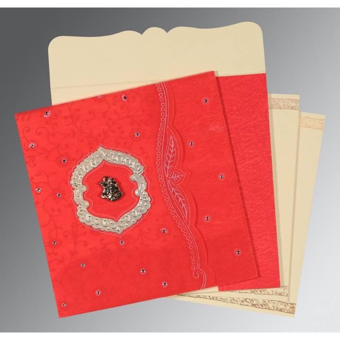 Red Wooly Floral Themed - Embossed Wedding Card : C-8209I - 123WeddingCards