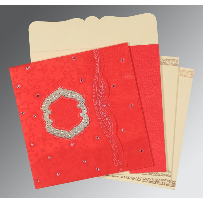 Red Wooly Floral Themed - Embossed Wedding Card : D-8209I - 123WeddingCards