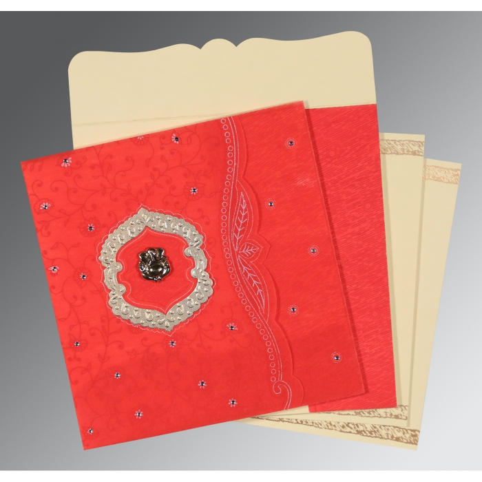 Red Wooly Floral Themed - Embossed Wedding Card : IN-8209I - 123WeddingCards
