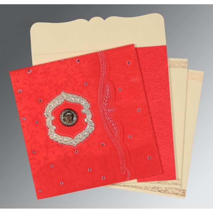 Red Wooly Floral Themed - Embossed Wedding Card : S-8209I - 123WeddingCards