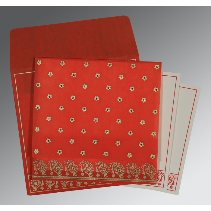 Red Wooly Floral Themed - Screen Printed Wedding Card : I-8218M - 123WeddingCards