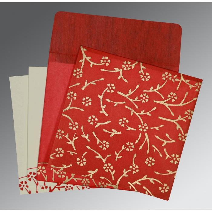 Red Wooly Floral Themed - Screen Printed Wedding Invitation : RU-8216L - 123WeddingCards