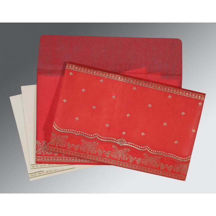 Red Wooly Foil Stamped Wedding Invitation : D-8241Q - 123WeddingCards