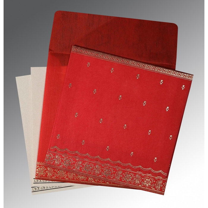 Red Wooly Foil Stamped Wedding Card : IN-8242A - 123WeddingCards