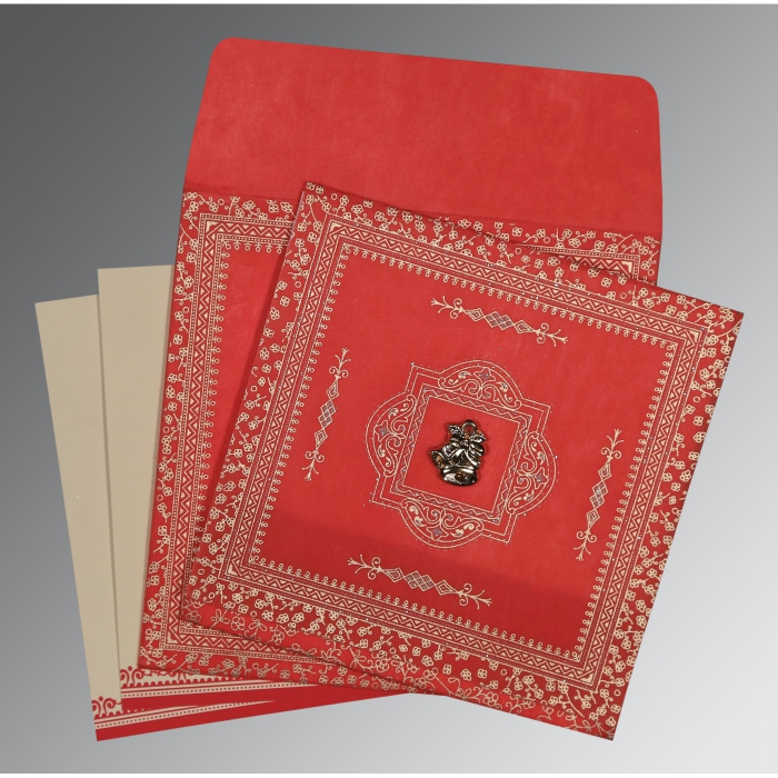 Red Wooly Glitter Wedding Card : C-8205R - 123WeddingCards
