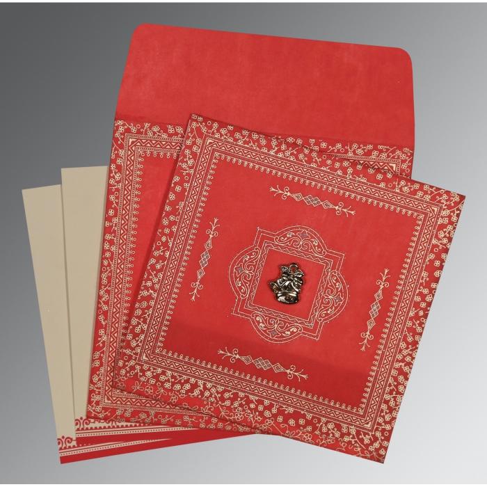 RED WOOLY GLITTER WEDDING CARD : C-8205R - 123WeddingCards