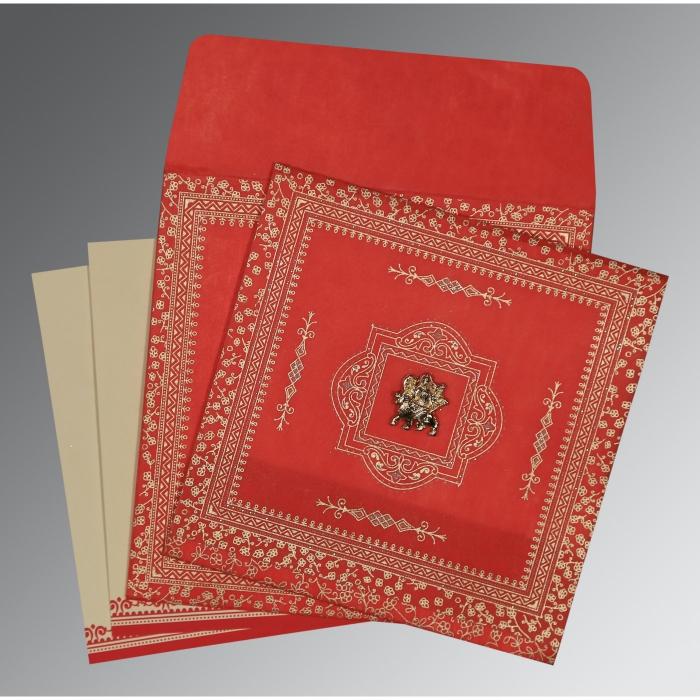 Red Wooly Glitter Wedding Card : G-8205R - 123WeddingCards