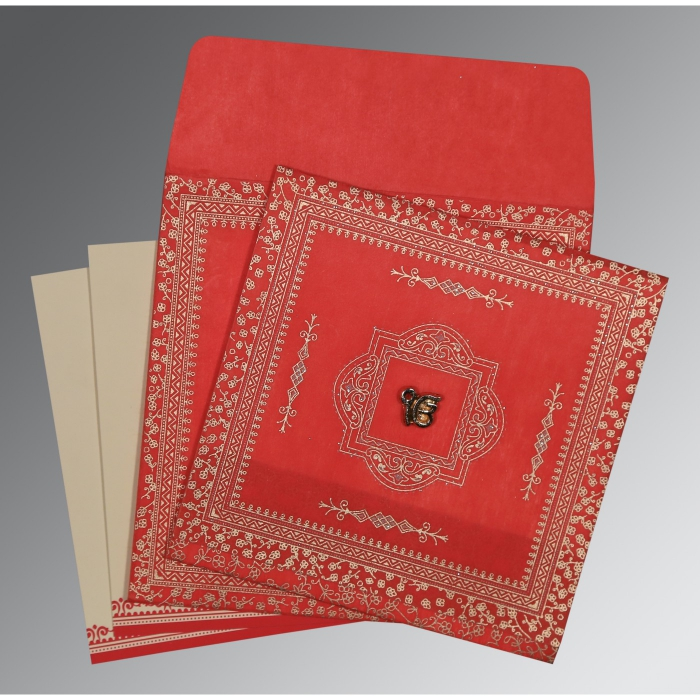 Red Wooly Glitter Wedding Card : RU-8205R - 123WeddingCards