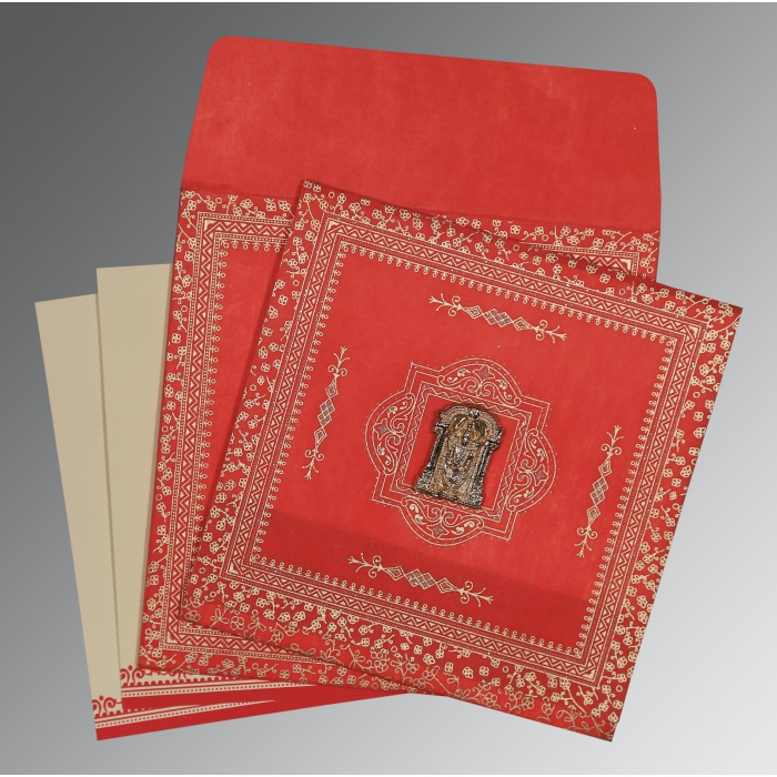 Red Wooly Glitter Wedding Card : SO-8205R - 123WeddingCards
