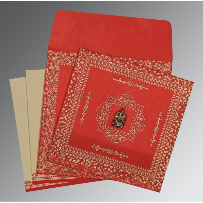 RED WOOLY GLITTER WEDDING CARD : W-8205R - 123WeddingCards