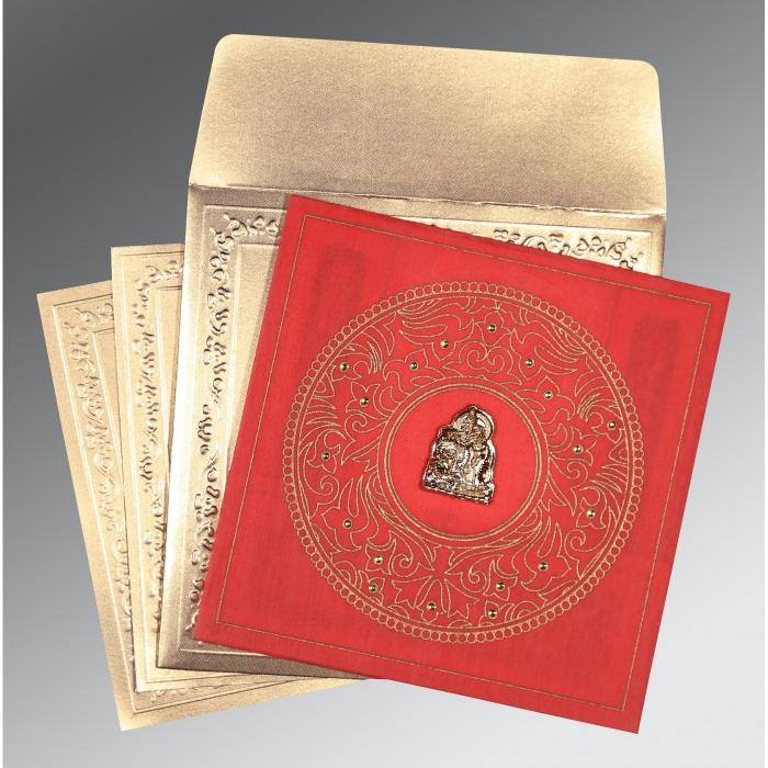 Red Wooly Screen Printed Wedding Invitations : G-8214G - 123WeddingCards