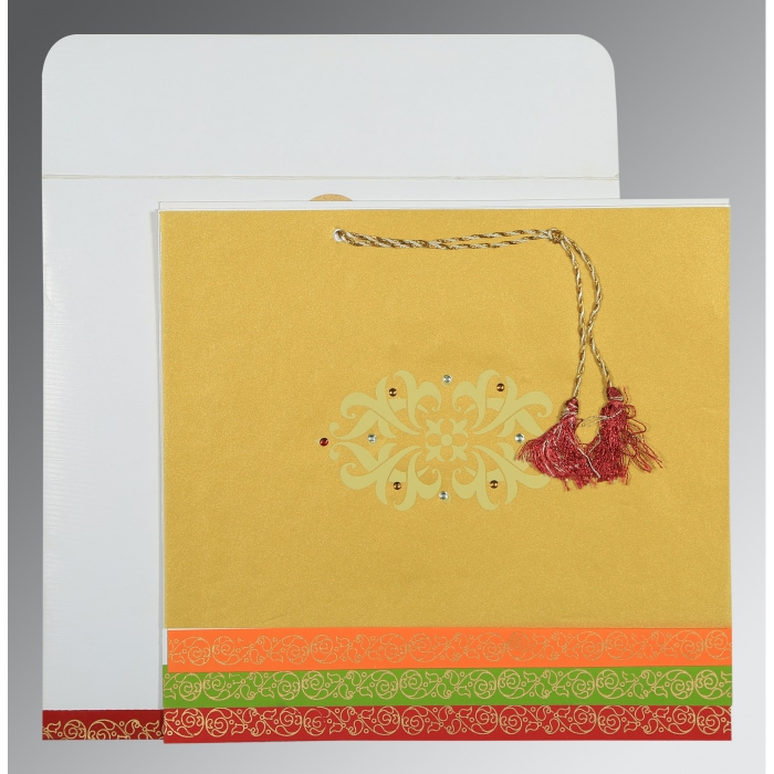 Screen Printed Wedding Card : C-1396 - 123WeddingCards