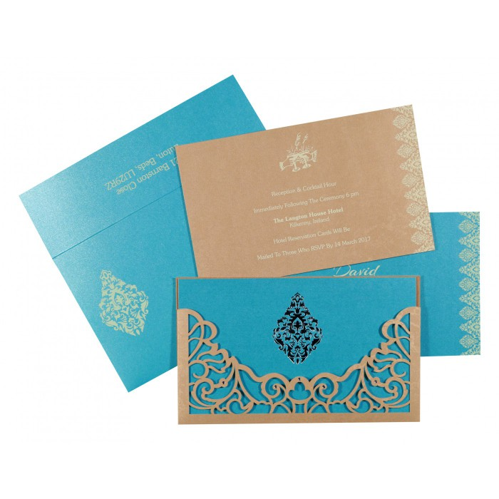 MODERATE ORANGE SHIMMERY DAMASK THEMED - LASER CUT WEDDING CARD : D-8262C - 123WeddingCards