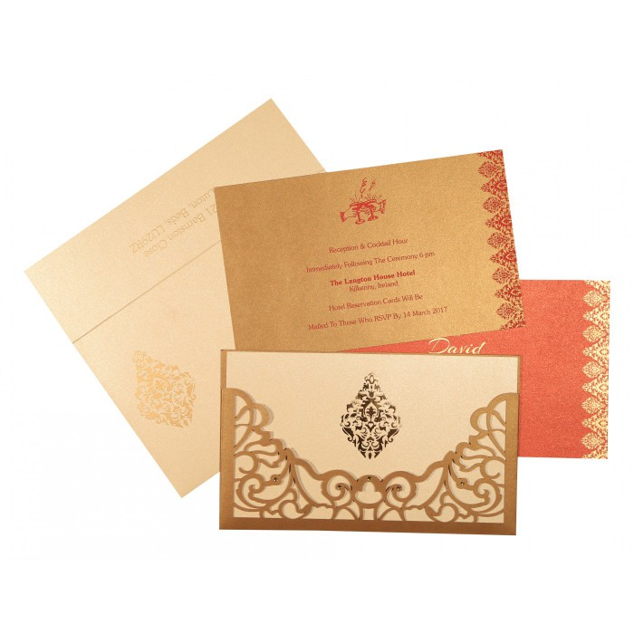 Shimmery Damask Themed - Laser Cut Wedding Card : D-8262D - 123WeddingCards