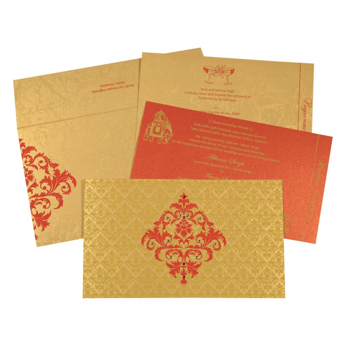 GOLD SHIMMERY DAMASK THEMED - SCREEN PRINTED WEDDING CARD : C-8257C - 123WeddingCards