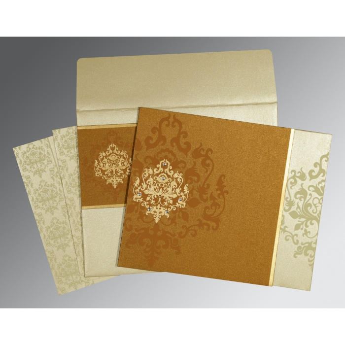 MUSTARD YELLOW SHIMMERY DAMASK THEMED - SCREEN PRINTED WEDDING CARD : D-8253G - 123WeddingCards