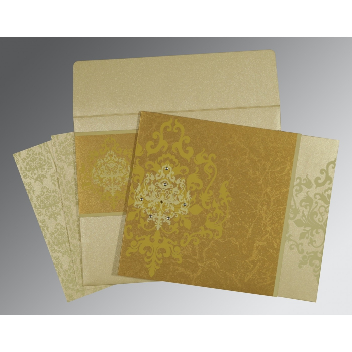 GOLD SHIMMERY DAMASK THEMED - SCREEN PRINTED WEDDING CARD : D-8253H - 123WeddingCards
