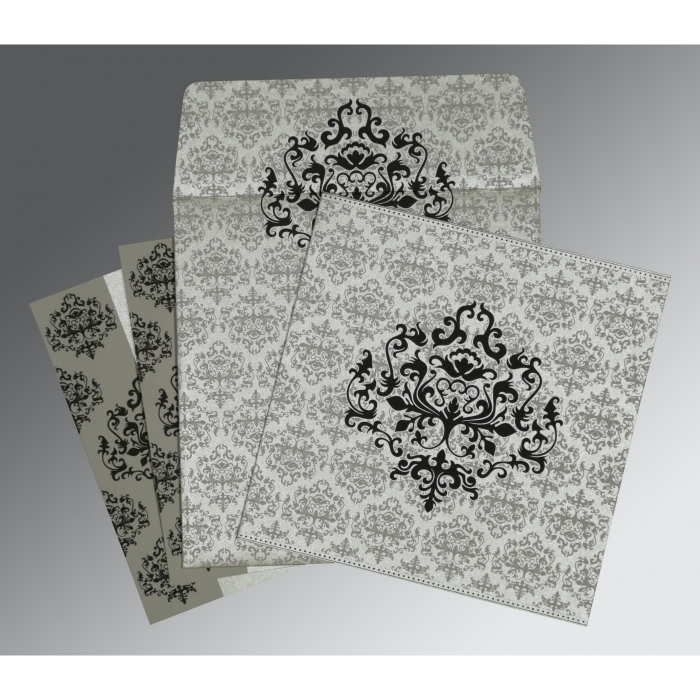 SILVER SHIMMERY DAMASK THEMED - SCREEN PRINTED WEDDING CARD : D-8254H - 123WeddingCards
