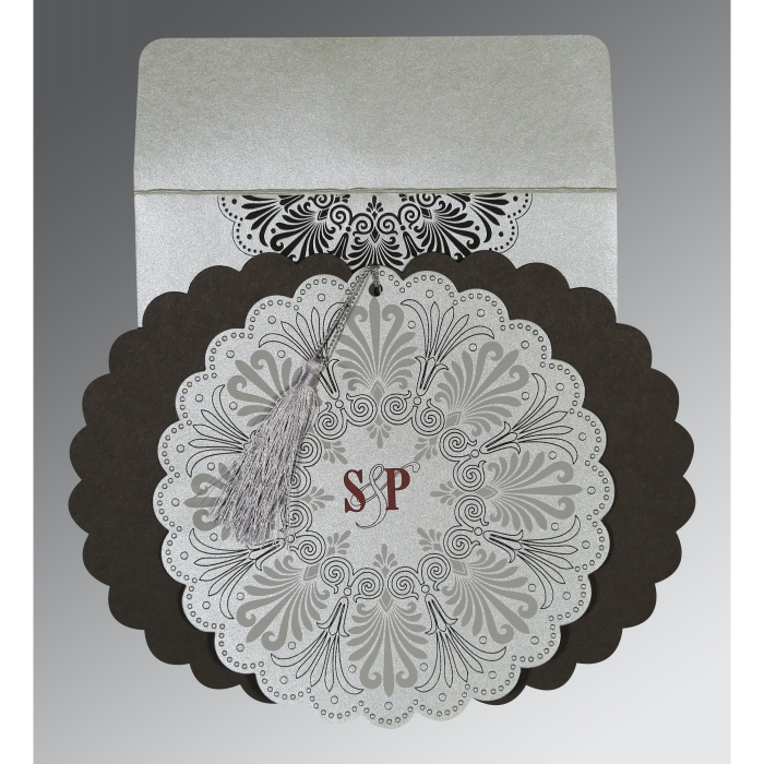 SILVER SHIMMERY FLORAL THEMED - EMBOSSED WEDDING CARD : C-8238A - 123WeddingCards