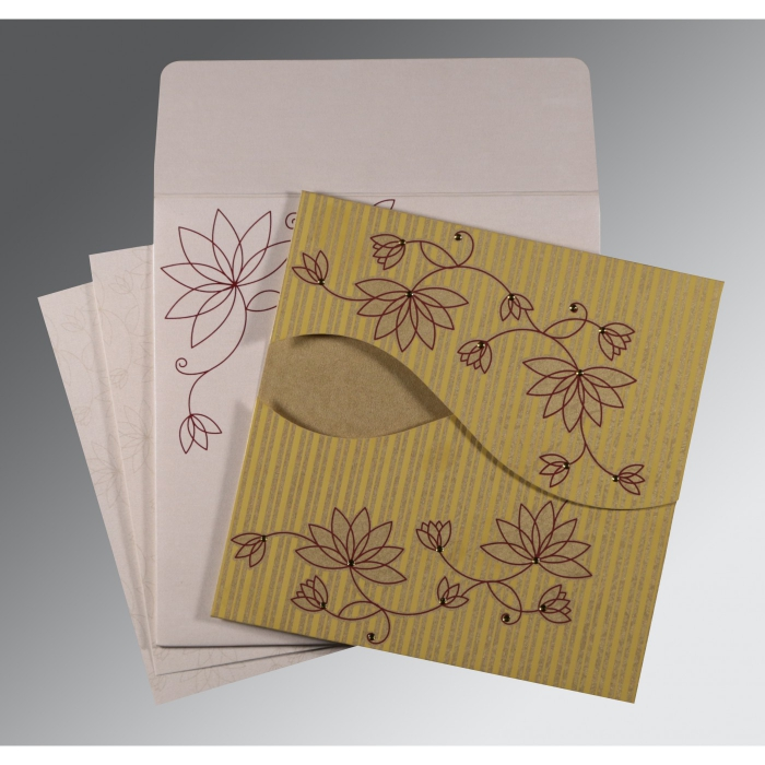 GOLD SHIMMERY FLORAL THEMED - SCREEN PRINTED WEDDING INVITATION : C-8251E - 123WeddingCards