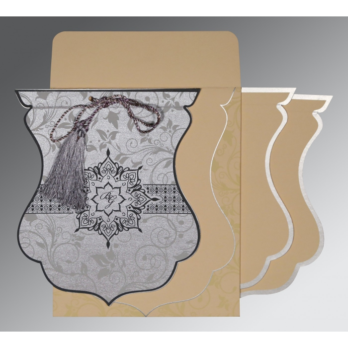 Shimmery Floral Themed - Screen Printed Wedding Card : S-8229B - 123WeddingCards