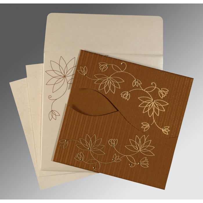 Shimmery Floral Themed - Screen Printed Wedding Invitation : SO-8251M - 123WeddingCards