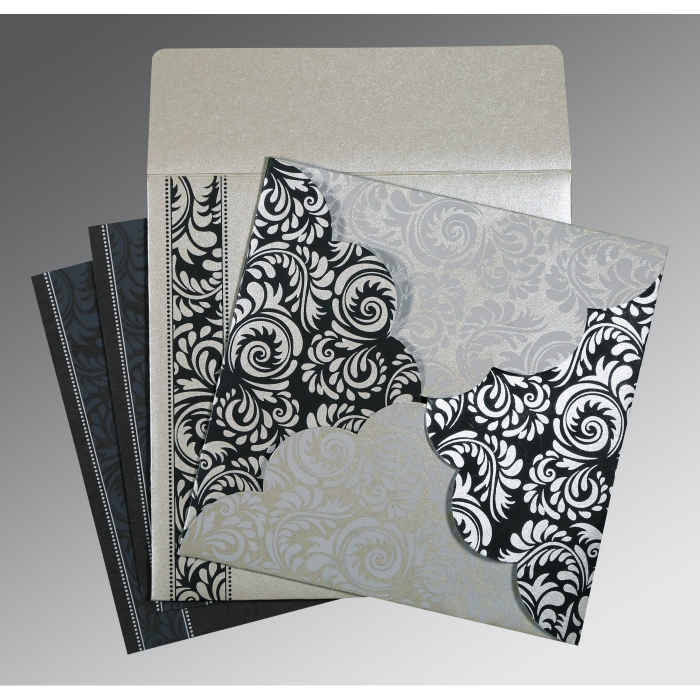 Shimmery Floral Themed - Screen Printed Wedding Card : W-8235B - 123WeddingCards