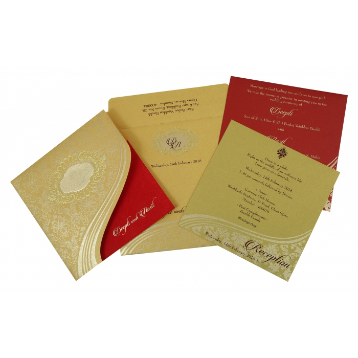 YELLOW GOLD SHIMMERY FOIL STAMPED WEDDING INVITATION : W-1798 - 123WeddingCards