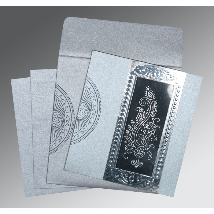 SILVER SHIMMERY PAISLEY THEMED - FOIL STAMPED WEDDING INVITATION : C-8230F - 123WeddingCards