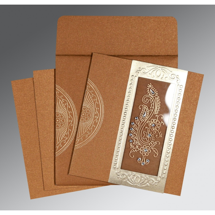 COPPER SHIMMERY PAISLEY THEMED - FOIL STAMPED WEDDING INVITATION : D-8230Q - 123WeddingCards
