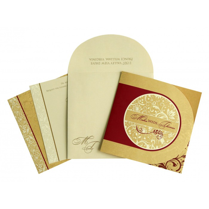 GOLD SHIMMERY PAISLEY THEMED - SCREEN PRINTED WEDDING CARD : D-8264B - 123WeddingCards