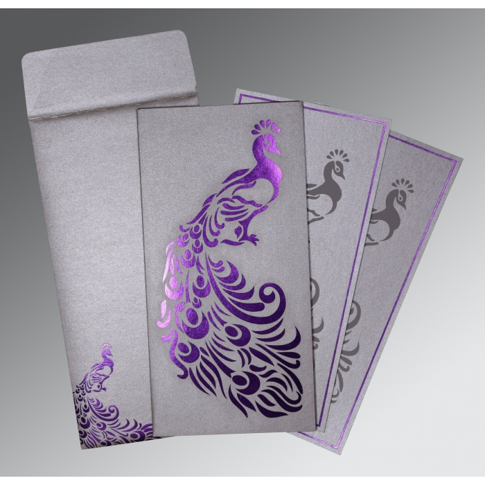 SILVER SHIMMERY PEACOCK THEMED - LASER CUT WEDDING INVITATION : W-8255C - 123WeddingCards