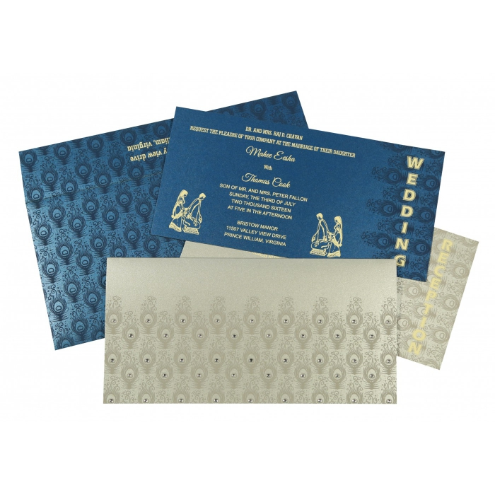 SILVER SHIMMERY PEACOCK THEMED - SCREEN PRINTED WEDDING INVITATION : IN-8256H - 123WeddingCards