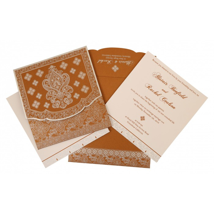 COPPER SHIMMERY SCREEN PRINTED WEDDING INVITATION : C-800B - 123WeddingCards