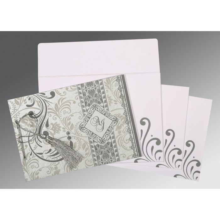 SILVER SHIMMERY SCREEN PRINTED WEDDING CARD : C-8223A - 123WeddingCards