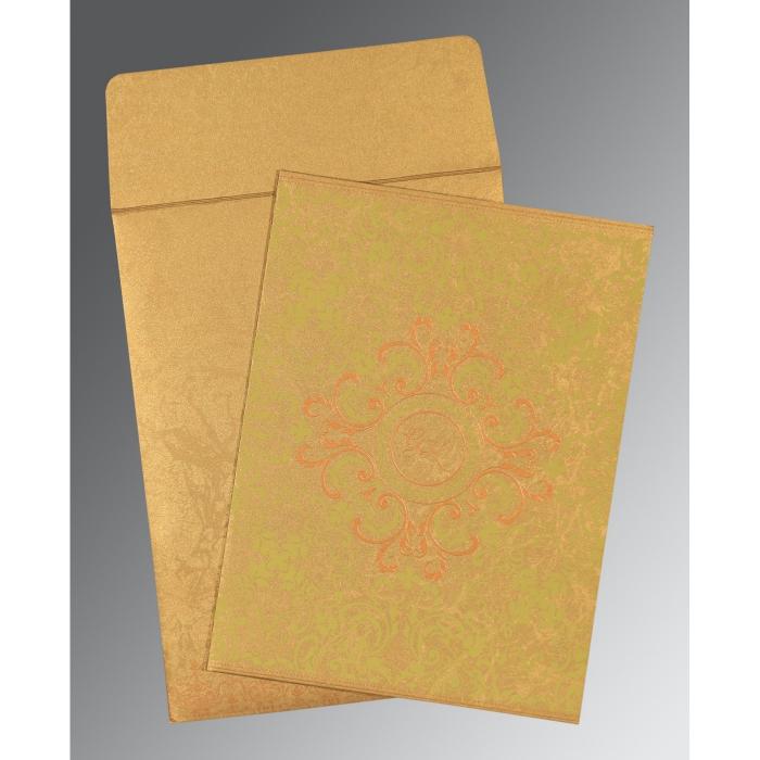 SATIN GOLD SHIMMERY SCREEN PRINTED WEDDING CARD : C-8244G - 123WeddingCards