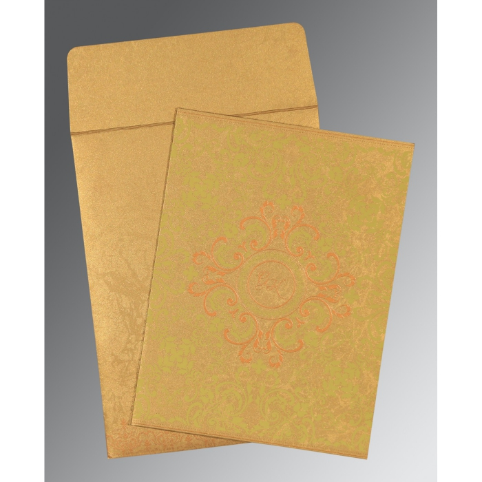 SATIN GOLD SHIMMERY SCREEN PRINTED WEDDING CARD : D-8244G - 123WeddingCards