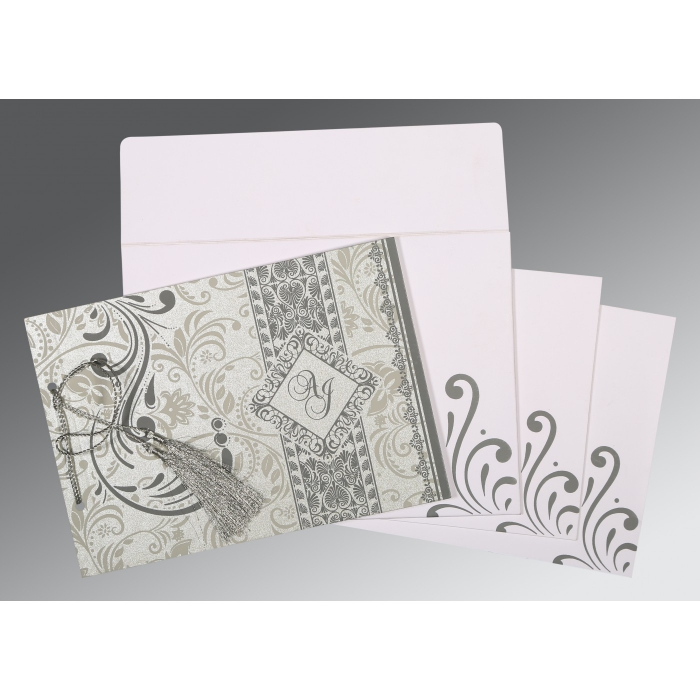 SILVER SHIMMERY SCREEN PRINTED WEDDING CARD : IN-8223A - 123WeddingCards