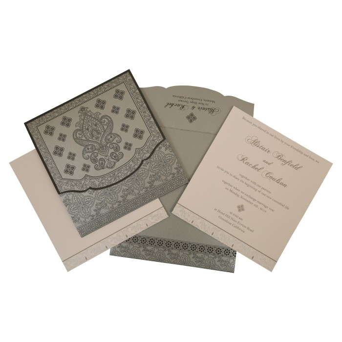 GREY SHIMMERY SCREEN PRINTED WEDDING INVITATION : W-800E - 123WeddingCards