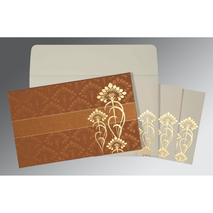 COPPER SHIMMERY SCREEN PRINTED WEDDING CARD : W-8239H - 123WeddingCards