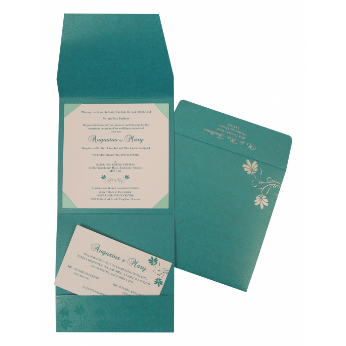 Turquoise Shimmery Screen Printed Wedding Invitation : W-803A - 123WeddingCards