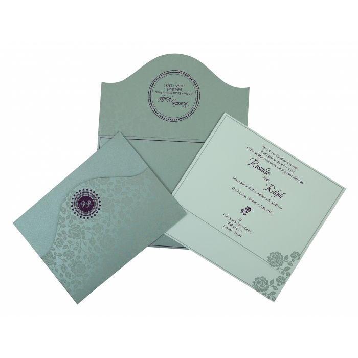 SILVER SHIMMERY FLORAL THEMED - SCREEN PRINTED WEDDING INVITATION : IN-802A - 123WeddingCards