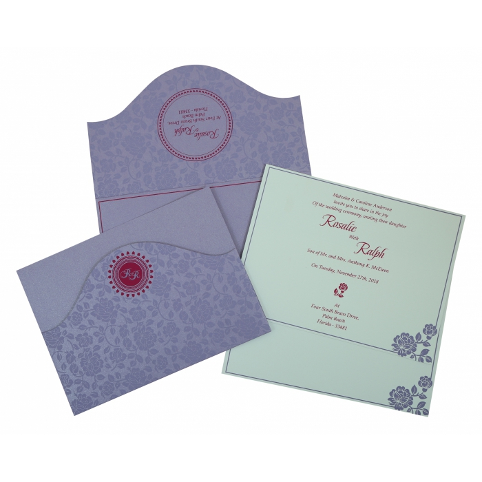 LAVENDER PURPLE SHIMMERY FLORAL THEMED - SCREEN PRINTED WEDDING INVITATION : IN-802B - 123WeddingCards